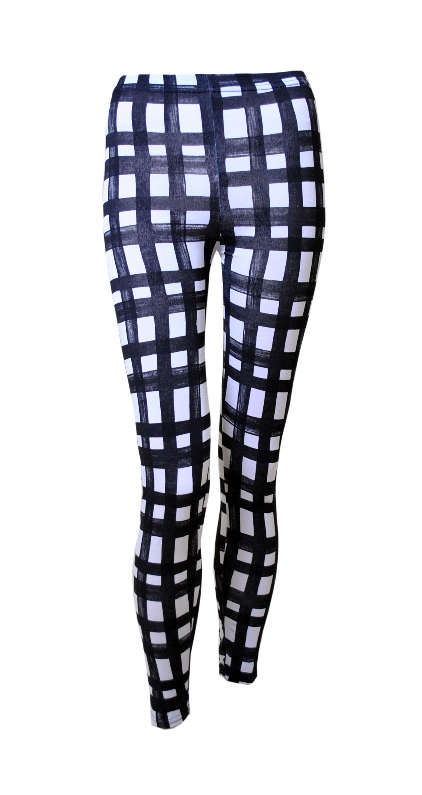 Black u0026 White Distressed Gingham Print Leggings