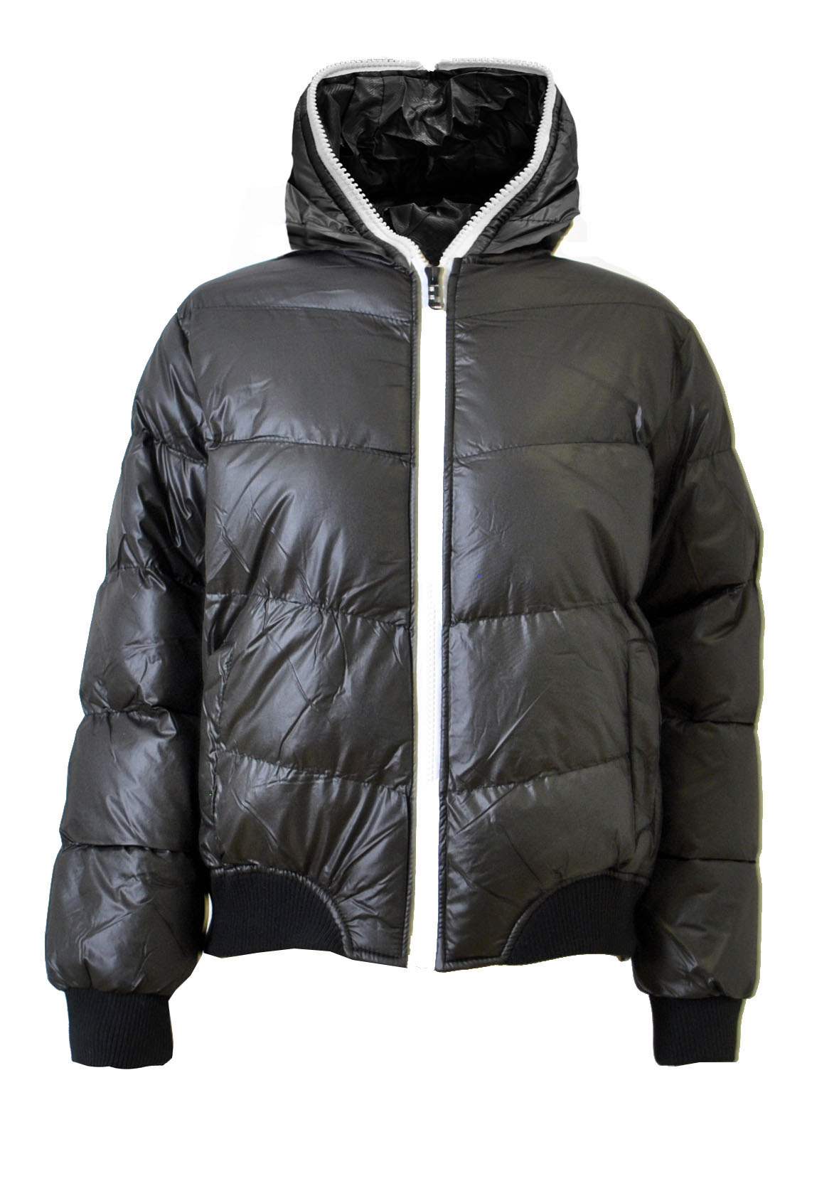 Boys Black Hooded Bubble Jacket