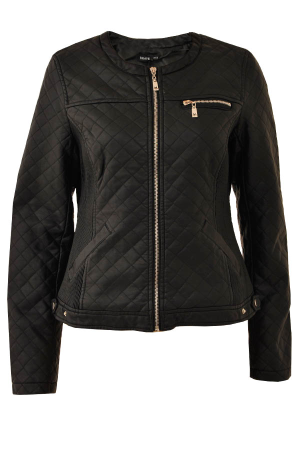Faux Pu Biker Padded Quilted Jacket