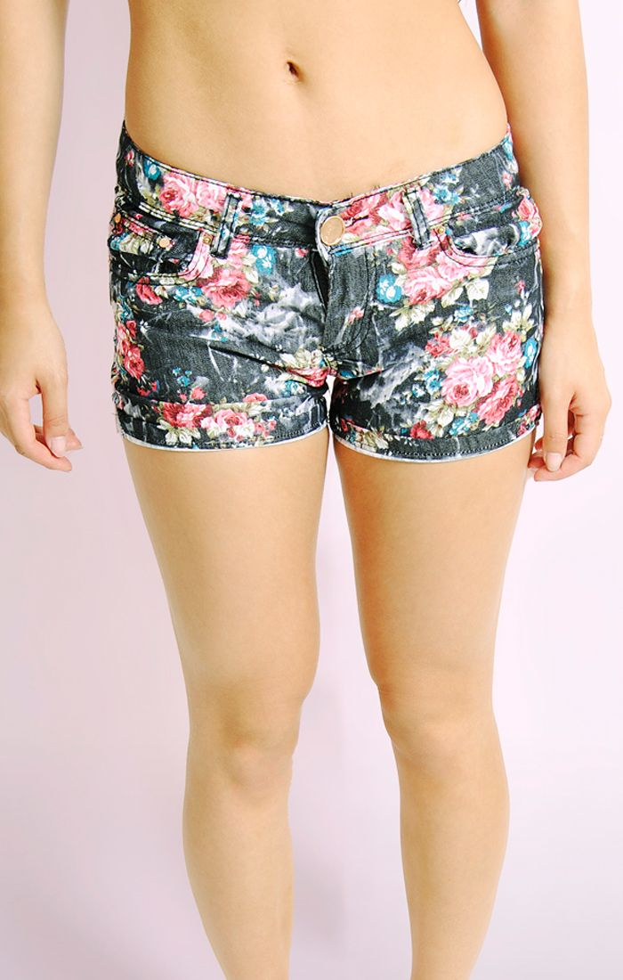 Ladies Womens Floral Print Shorts Summer Beach Half Mini Pants ...