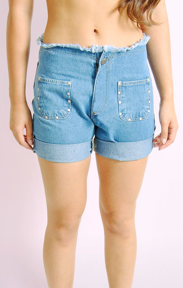 Ladies Womens Frayed Denim Shorts With Stud Detail Half Pant Jeans - 8/10/12/14 | EBay