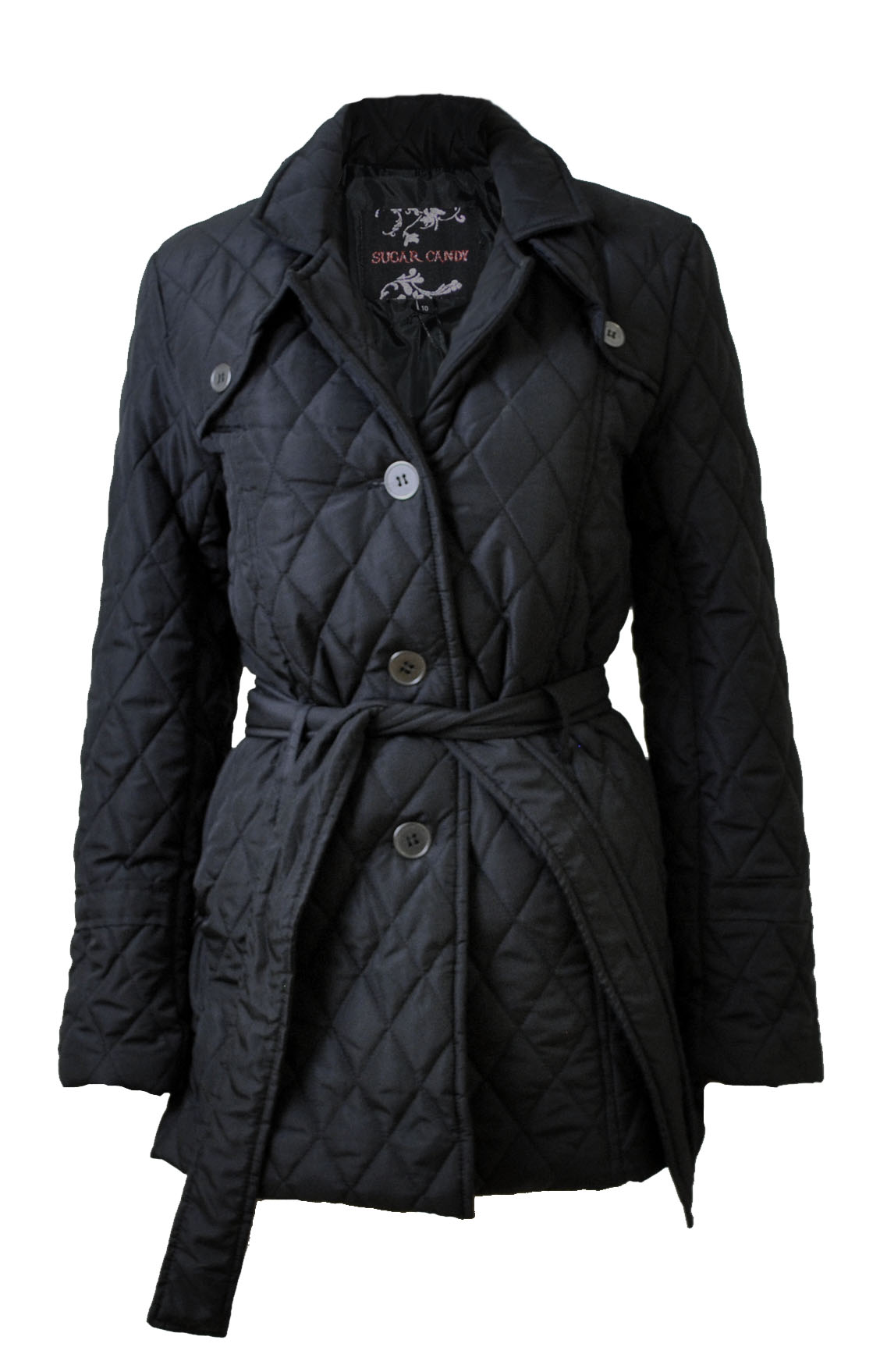 Ladies Black Diamond-Quilted Belted Jacket