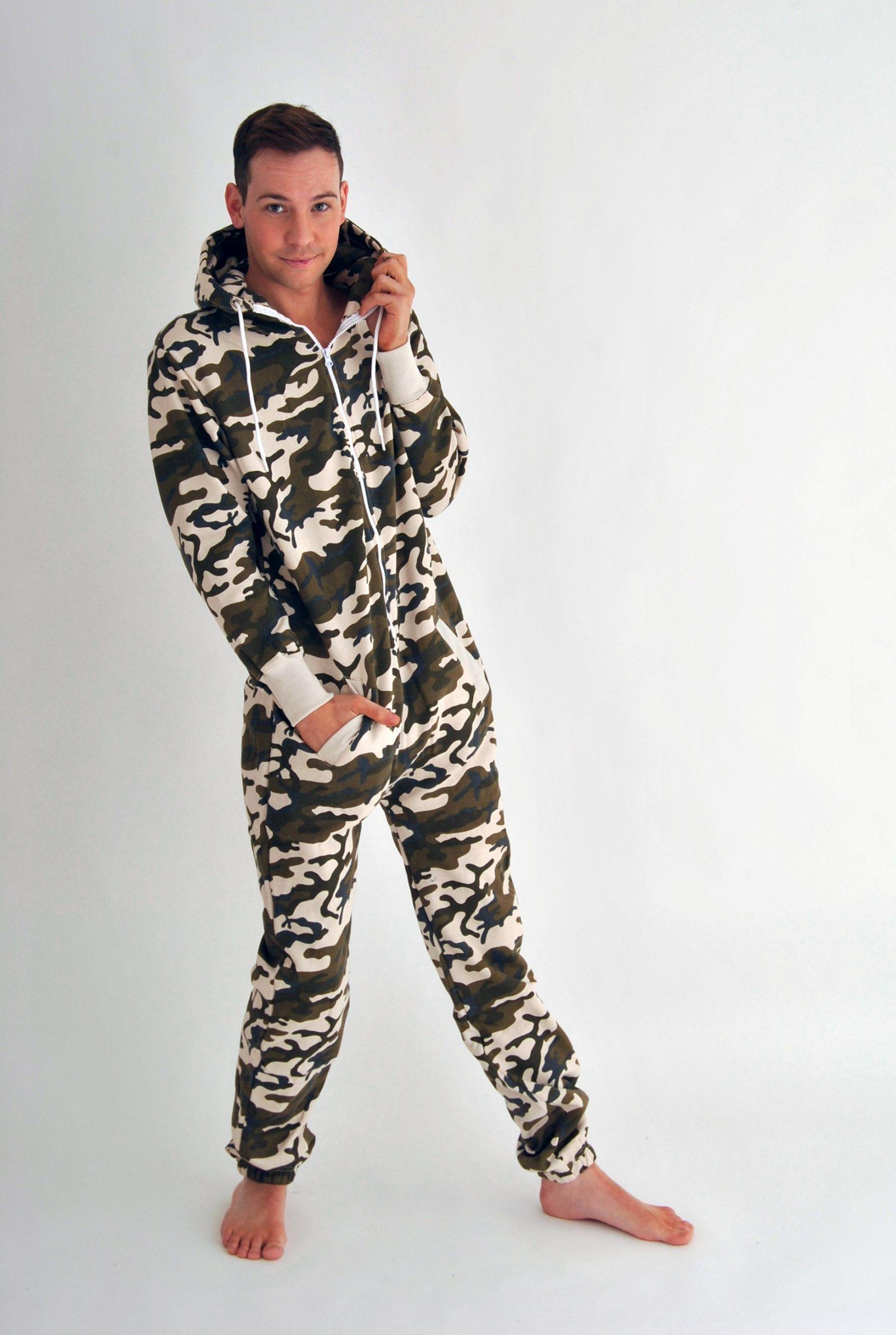 Mens camouflage printed hooded onesie for Mens dress shirt onesie