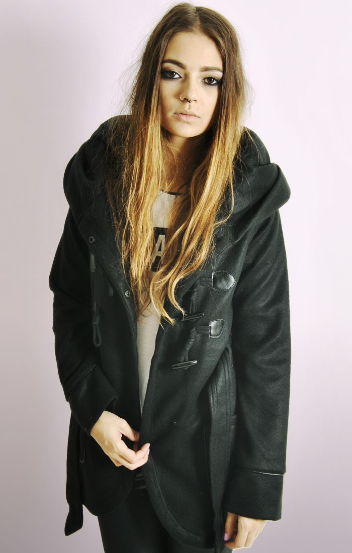 Brand-new Ladies Toggle Button Duffle Coat with Oversized Hood WN12
