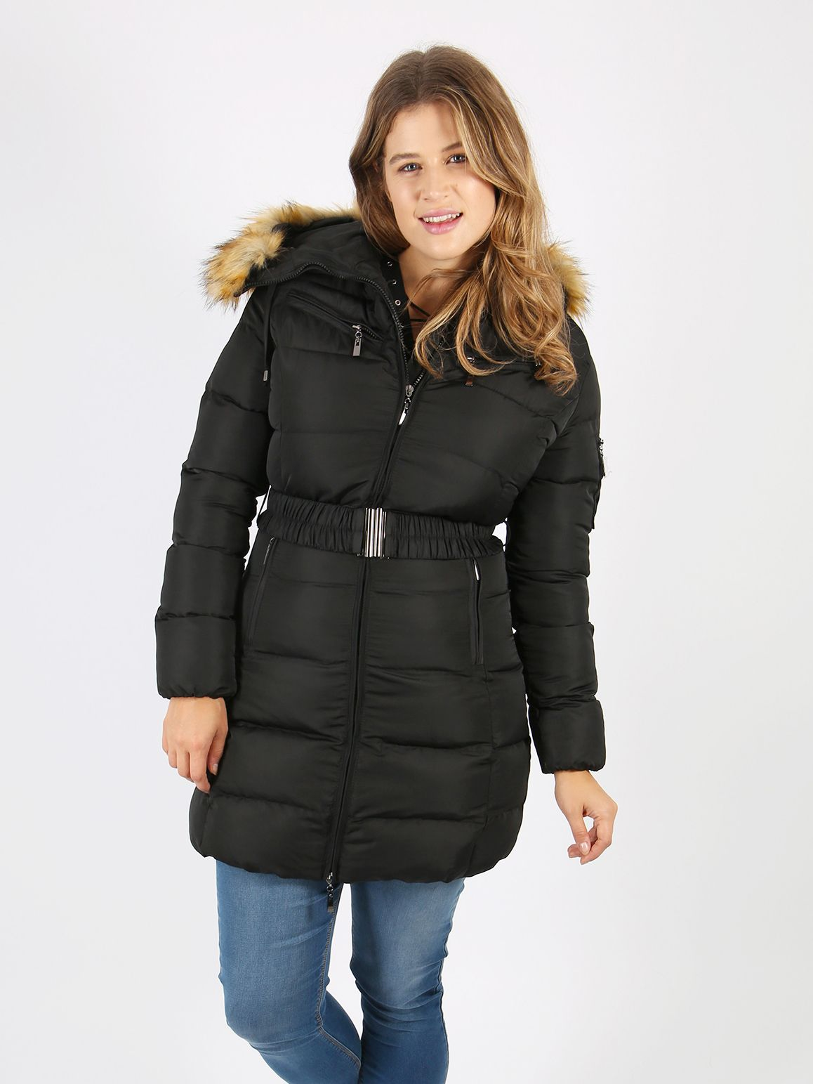 Lovedrobe Black Long Belted Puffer Jacket