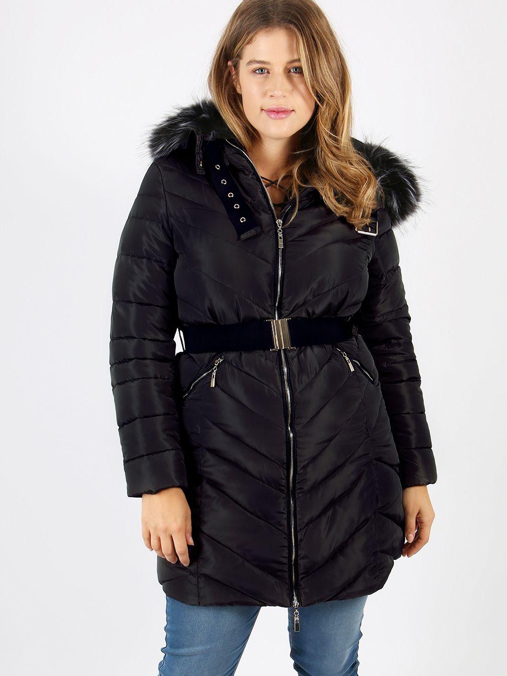 44a1bc0b913 Lovedrobe Black Long Jacket With Fur Trim