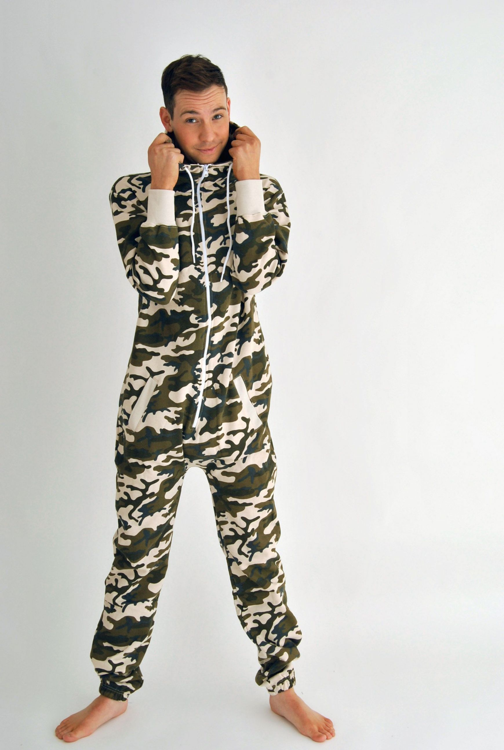 Mens Camouflage Printed Hooded Onesie