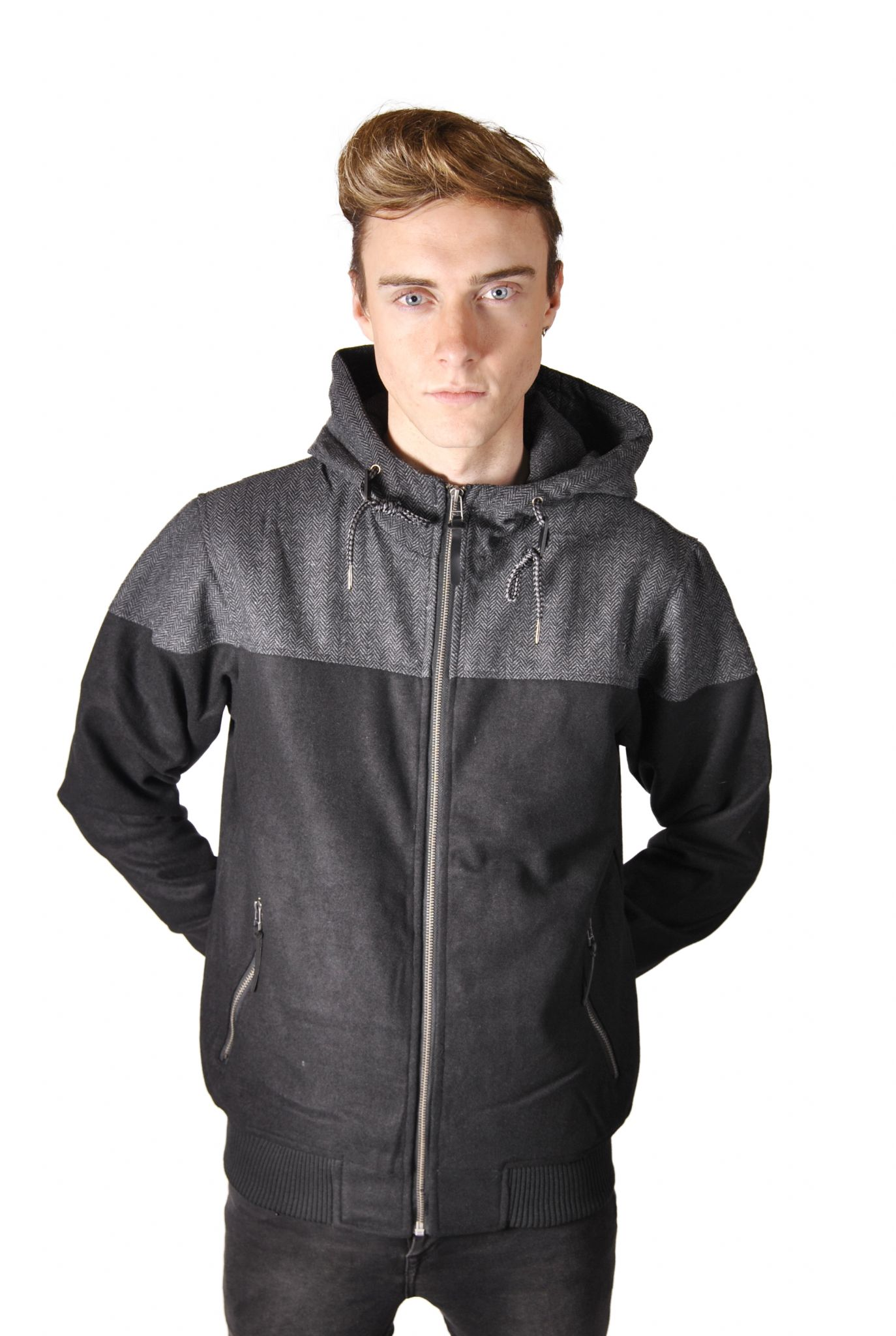 8e4ceeed2 Mens Wool Mix Bomber with Tweed Detailing
